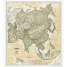 Asia Political Wall Map (Earth-Toned)