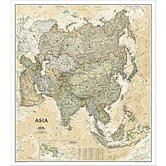 Asia Political Map (Earth-toned), Laminated
