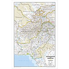 Afghanistan and Pakistan Political Map, Laminated