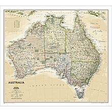 Australia Political Wall Map (Earth-Toned), Laminated