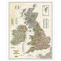 Britain and Ireland Political Wall Map (Earth-Toned), Laminated