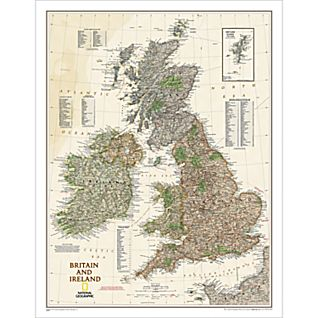 Britain and Ireland Political Map (Earth-toned), Laminated