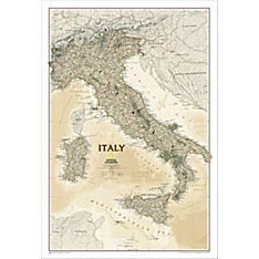 Italy Political Wall Map (Earth-Toned), Laminated