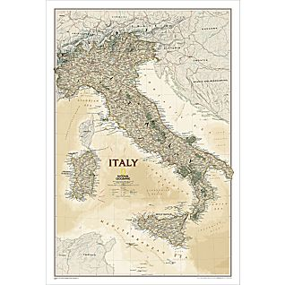 View Italy Political Map (Earth-toned), Laminated image