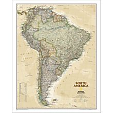 South America Political Wall Map (Earth-Toned)