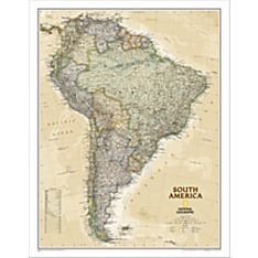South America Political Wall Map (Earth-Toned), Laminated