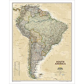 View South America Political Map (Earth-toned), Laminated image