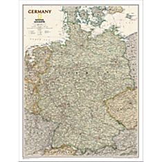 Germany Political Wall Map (Earth-Toned), Laminated