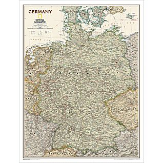 Germany Political Map (Earth-toned), Laminated