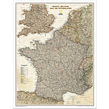 France, Belgium and the Netherlands Political Wall Map (Earth-Toned)