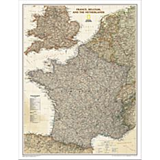 France, Belgium and the Netherlands Political Wall Map (Earth-Toned), Laminated