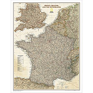 View France, Belgium and the Netherlands Political Map (Earth-toned), Laminated image