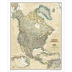 North America Political Wall Map (Earth-Toned), Laminated