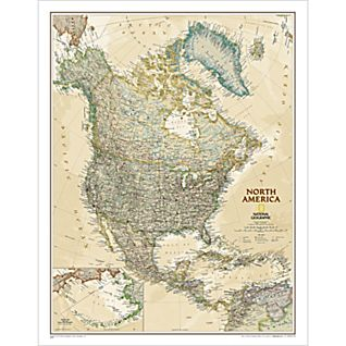View North America Political Map (Earth-toned), Laminated image