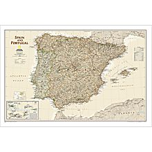 Spain and Portugal Political Wall Map (Earth-Toned)
