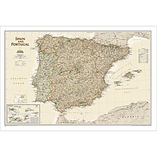 Spain and Portugal Political Map (Earth-toned), Laminated