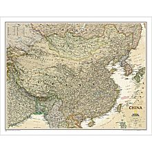 China Political Map (Earth-toned), Laminated