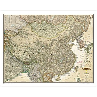 View China Political Map (Earth-toned), Laminated image