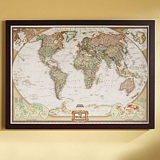 View World Political Map (Earth-toned), Poster Size and Framed image