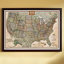 U.S. Political Map (Earth-Toned), Poster Size and Framed, 2007