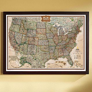 View U.S. Political Map (Earth-toned), Poster Size and Framed image