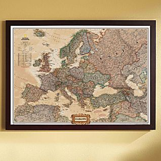 Europe Political Map (Earth-toned), Framed