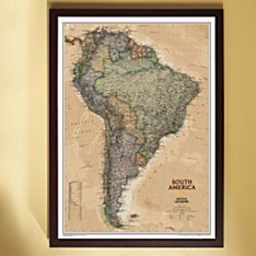 South America Political Wall Map (Earth-Toned), Framed