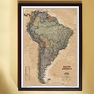 View South America Political Map (Earth-toned), Framed image