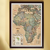 Africa Political Map (Earth-toned), Framed
