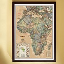 Africa Political Wall Map (Earth-Toned), Framed