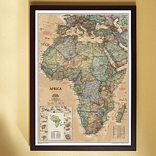 View Africa Political Map (Earth-toned), Framed image
