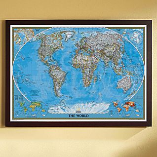 View World Political Map (Classic), Poster Size and Framed image