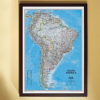 View South America Political Map (Classic), Framed image