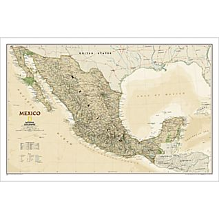 Mexico Political Map (Earth-toned), Laminated