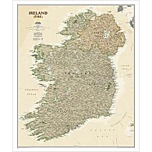 Ireland Political Map (Earth-toned), Laminated