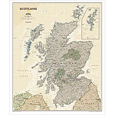 Scotland Political Map (Earth-toned), Laminated