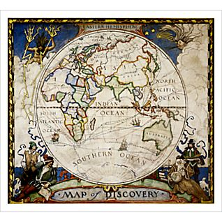 Map of Discovery, Eastern Hemisphere Wall Map