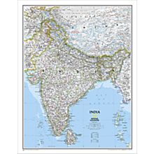 India Political Wall Map, Laminated