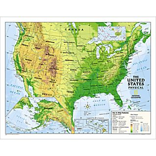 Kids Physical USA Education: Grades 4-12 Wall Map, Laminated