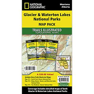 Glacier and Waterton Lakes National Parks Trail Maps (Map Pack Bundle)