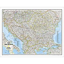 Balkans Political Map, Laminated