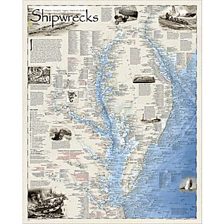 View Shipwrecks of DelMarVa Map, Laminated image