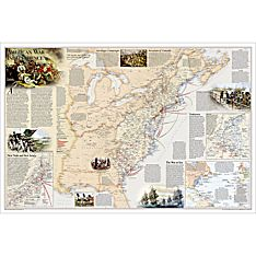 Battles of the Revolutionary War and War of 1812: 2-sided Wall Map, Laminated