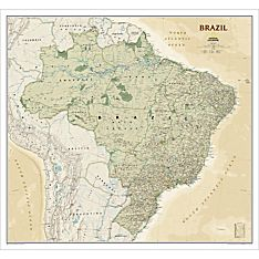 Brazil Political Map (Earth-toned), Laminated