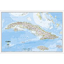Handcrafted Cuba Classic Map, Laminated