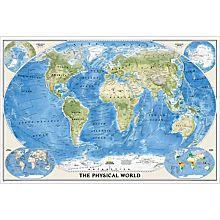 World Physical Map, Poster Size and Laminated, 2011