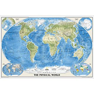 World Physical Map, Poster Size and Laminated