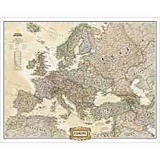 Europe Mural Wall Map (Earth-Toned)
