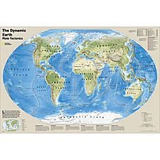 The Dynamic Earth, Plate Tectonics Map, Laminated, 2012