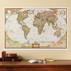 Repositionable World Map, Earth-toned